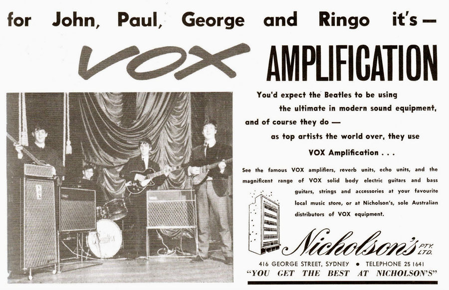 Vox and Nicholson's in the Beatles tour programme, June 1964