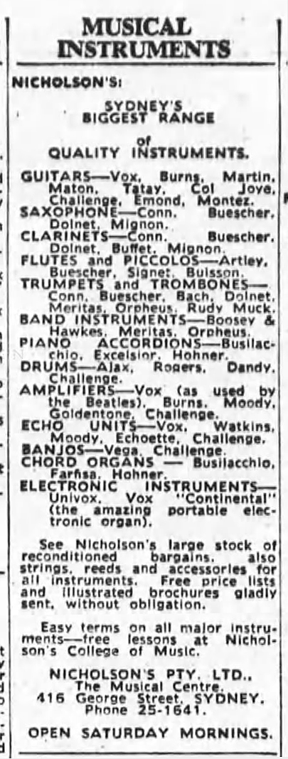 Vox and Nicholson's in the Sydney Morning Herald, May 1964