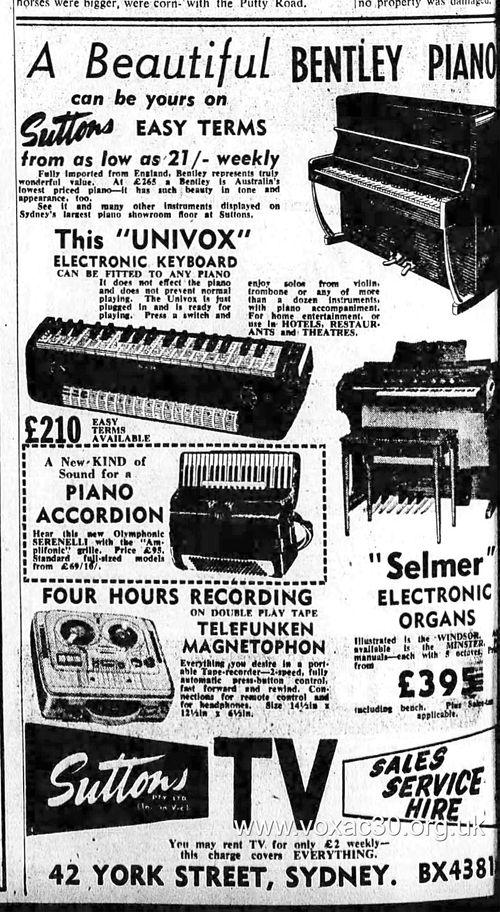 Jennings Univox in Australia, 1958