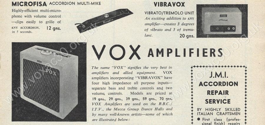 Vox Vibravox in The Accordion Times, April 1960