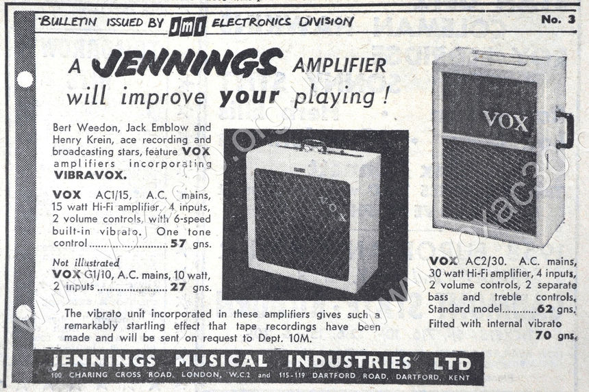 Vox AC2/30, Henry Krein band, 1958