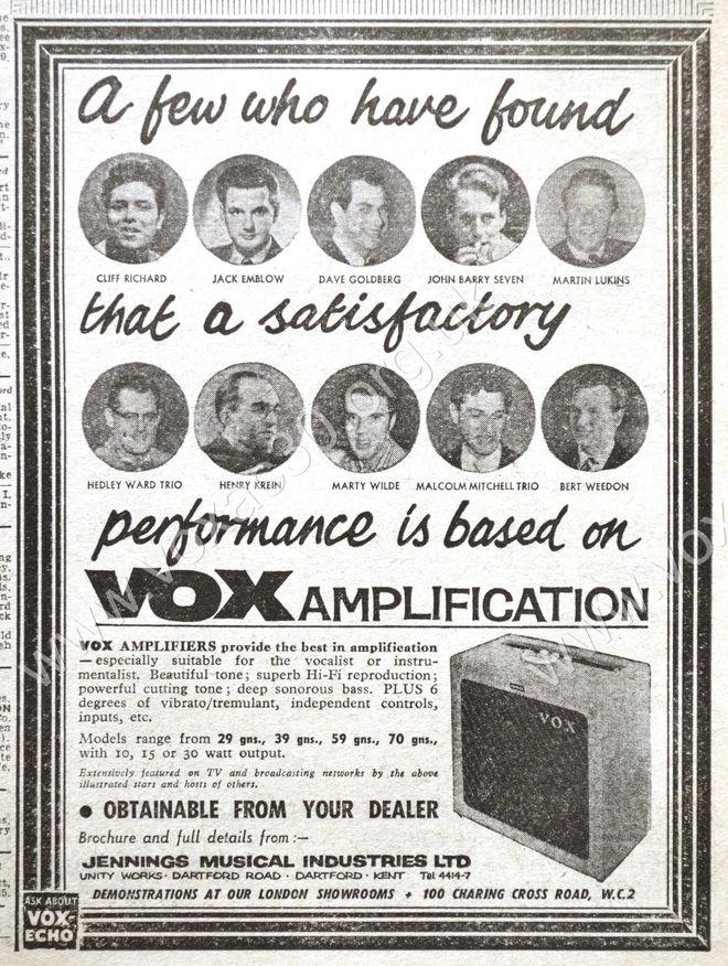 Melody Maker magazine, 14th November, 1959, Vox ad.