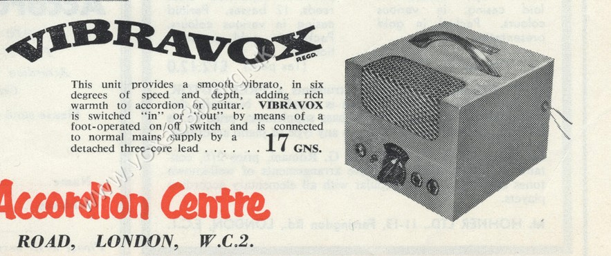 Vox Vibravox in The Accordion Times, March 1959