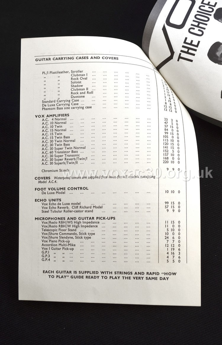 JMI pricelist attached to the large fold-out black-and-white catalogue, late 1962