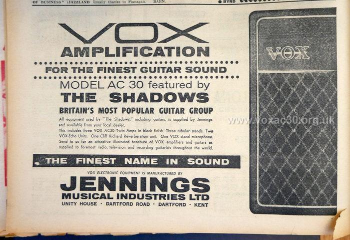 Melody Maker magazine, 3rd November, 1962.  The Shadows.