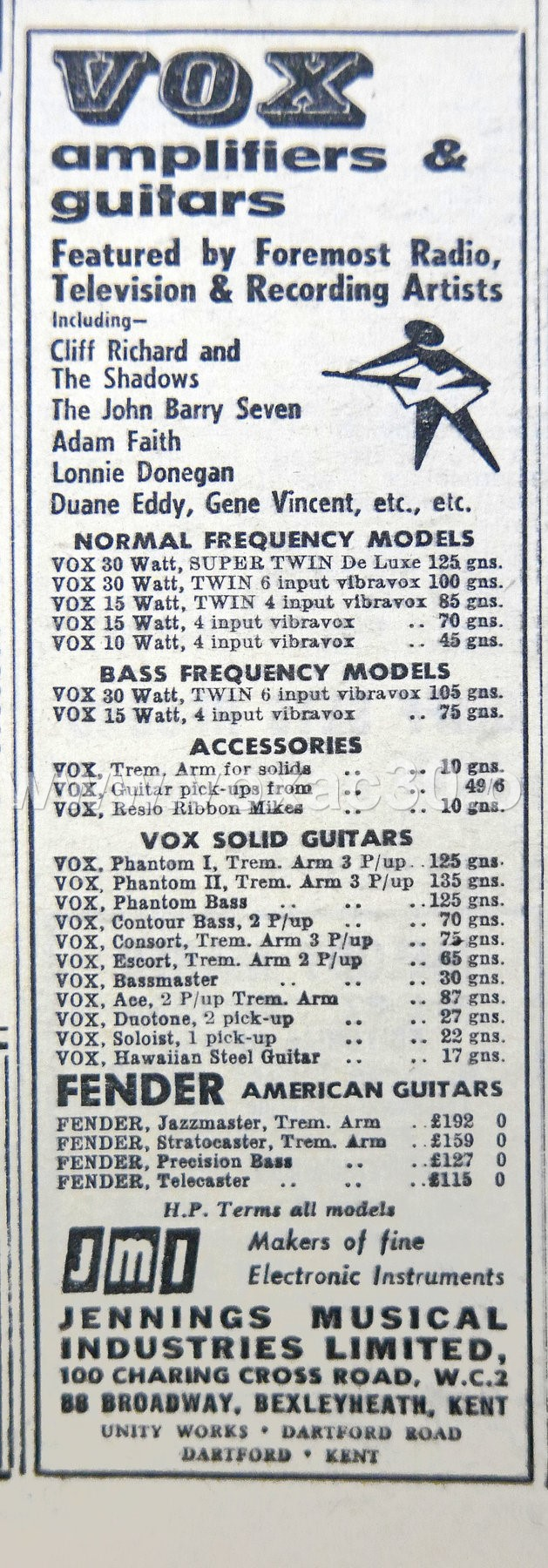 Melody Maker magazine, 6th January, 1962.  The AC30 Twin (Normal and Bass) and the standard Super Twin listed here