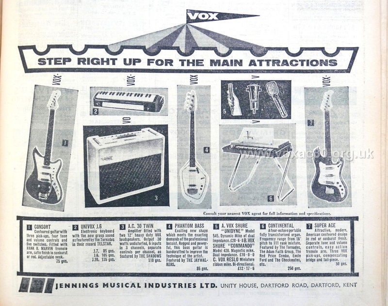 Melody Maker magazine, 16th March, 1962.  The AC30 represented in beige covering