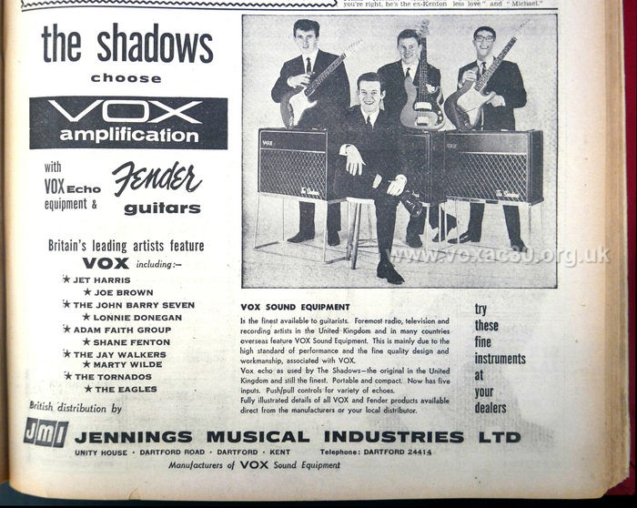 Melody Maker magazine, 27th October, 1962.  The Shadows with their third set of AC30s