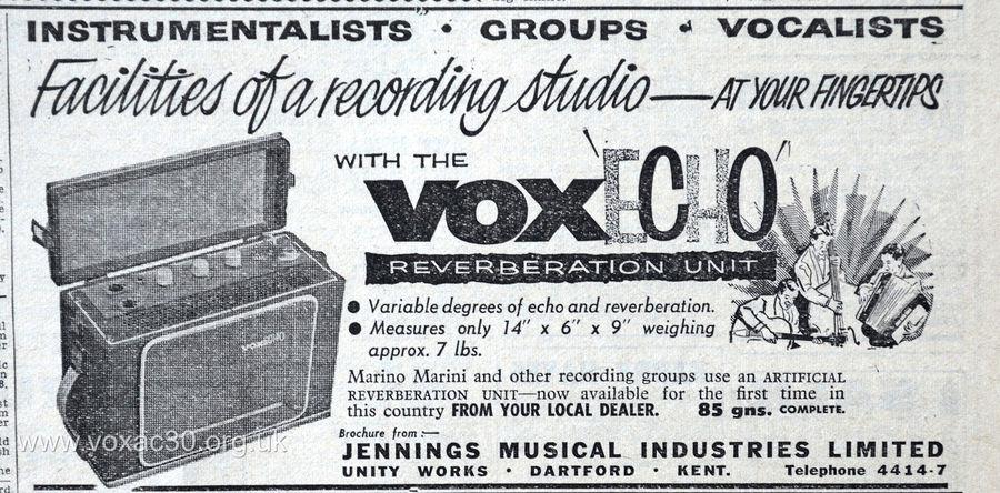 Vox Meazzi Echomatic, version 1, September 1959