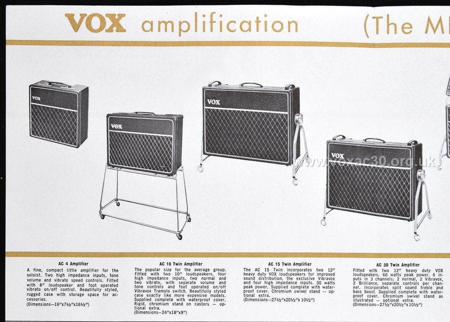 Vox AC30s in the first American Vox catalog, late 1964