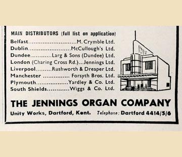 Jennings Organ Company - 1956, the B series and new V series