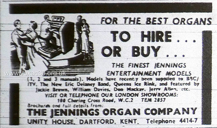 NME, October 1958.  The Jennings Organ Company electronic organs