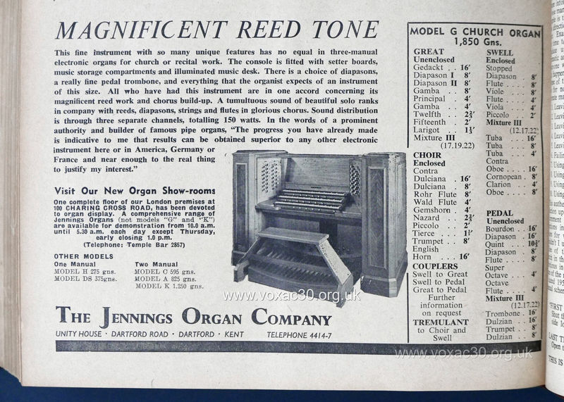Musical Opinion magazine, December 1959.  The Jennings Organ Company electronic organs