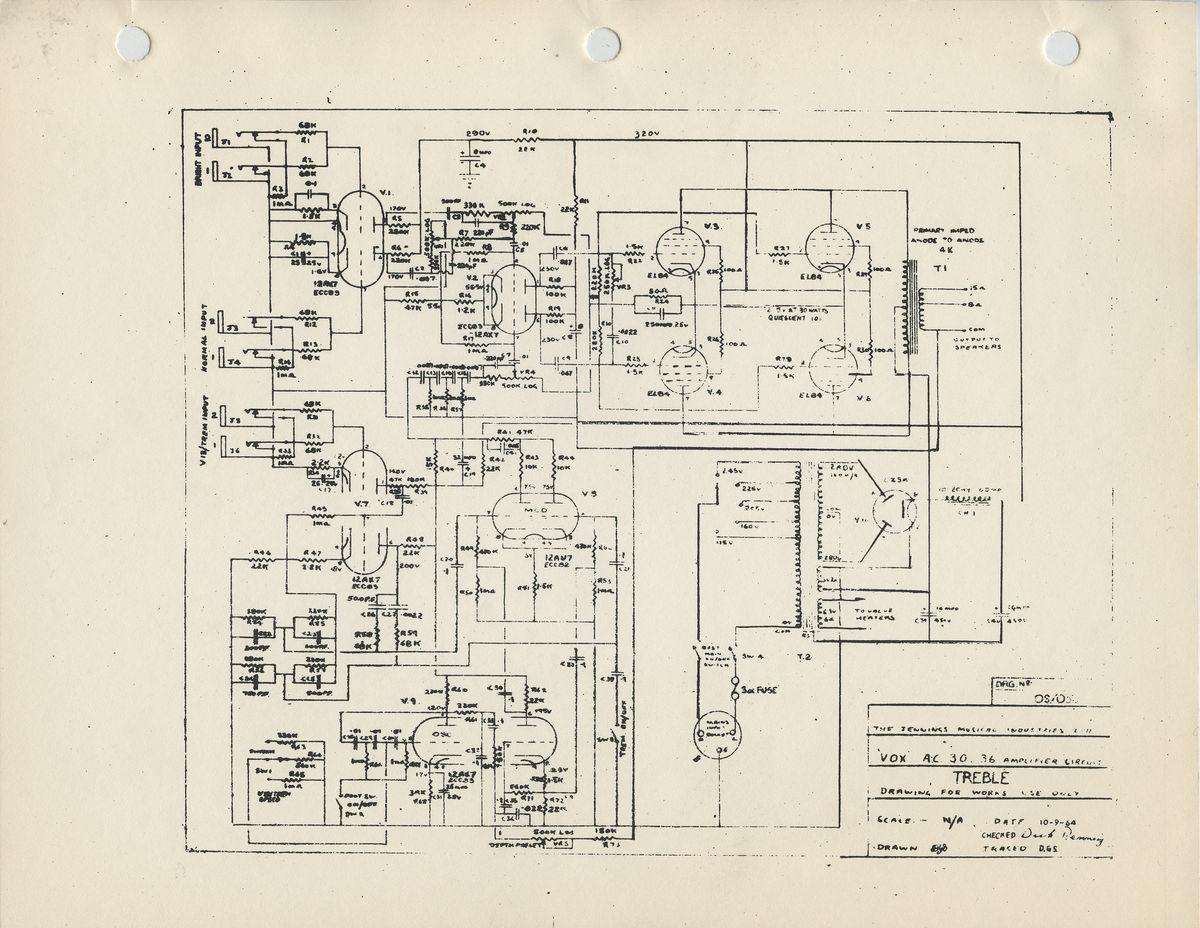 Vox AC30/6 Treble model circuit diagram, schematic, 1964