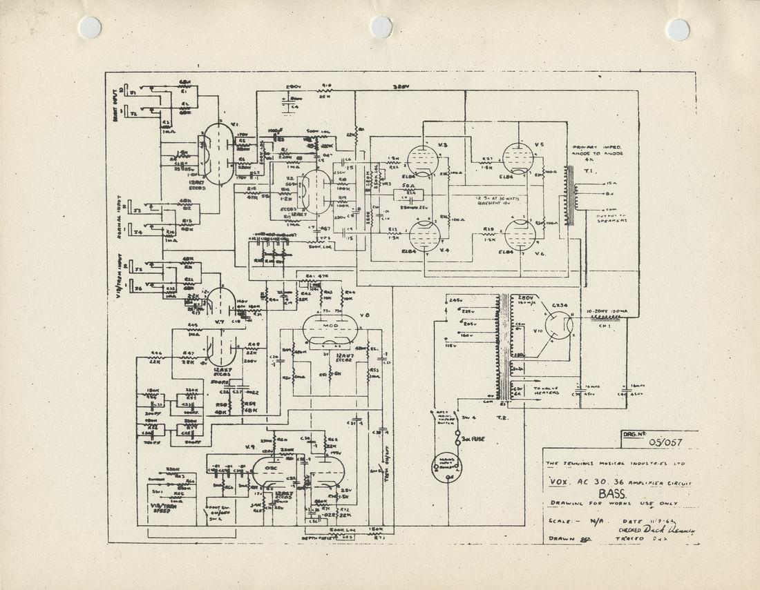 Vox AC30/6 Bass model circuit diagram, schematic, 1964