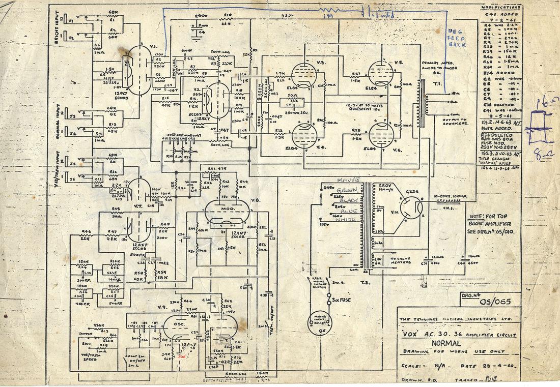 Vox AC30/6 Normal circuit diagram, schematic, 1960-1964