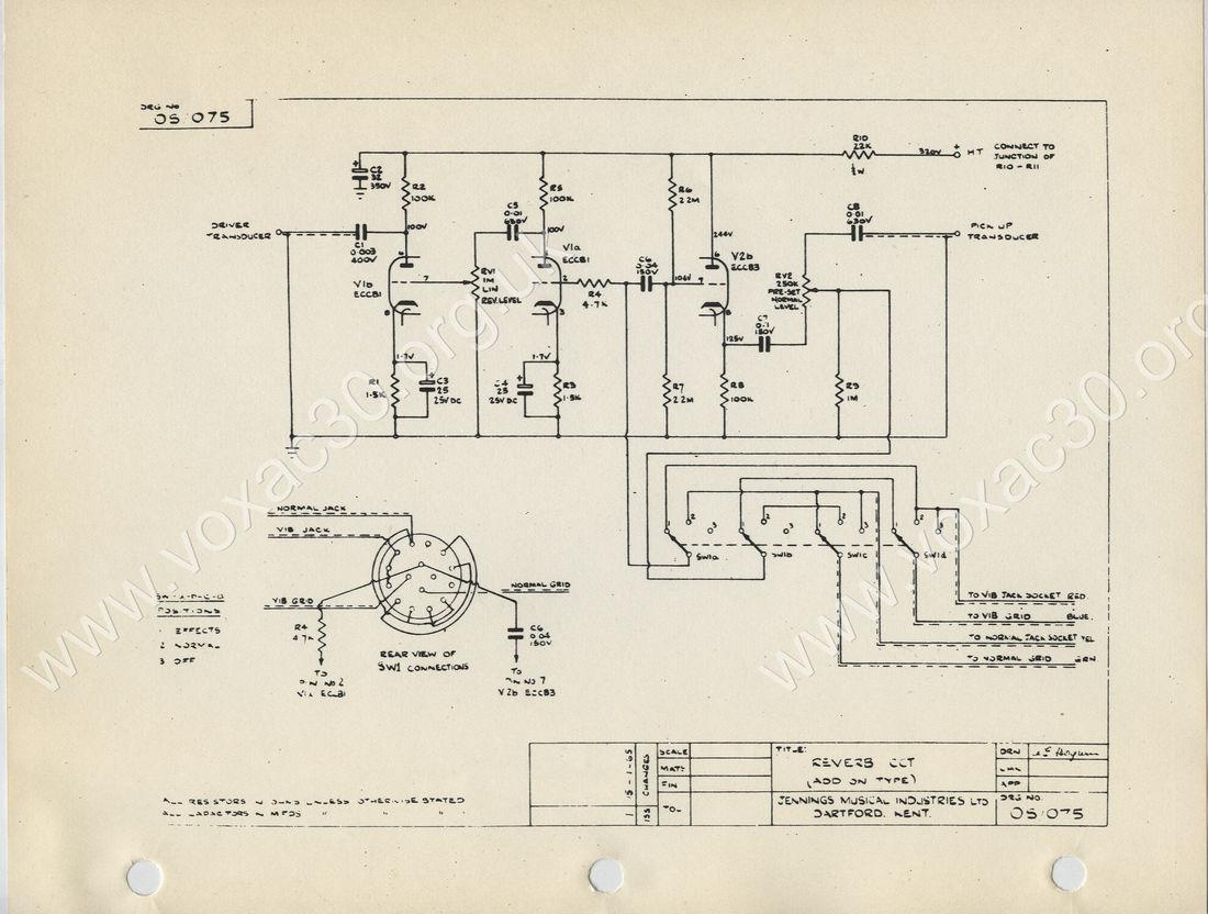 Vox AC30/6 add on Reverb unit, circuit diagram, schematic, 1965