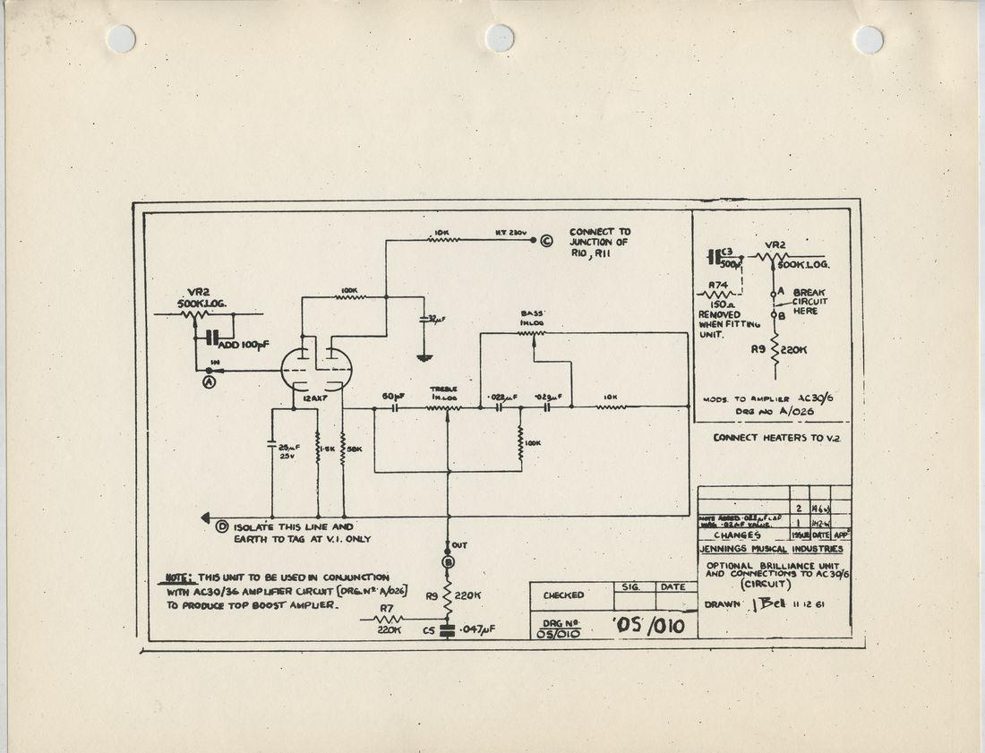 Vox AC30/6 add on Top Boost unit, circuit diagram, schematic, 1961