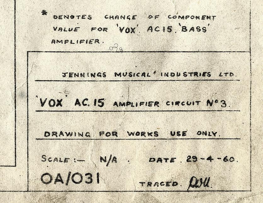 Vox AC15 amplifier circuit 3, JMI diagram, schematic, 1960