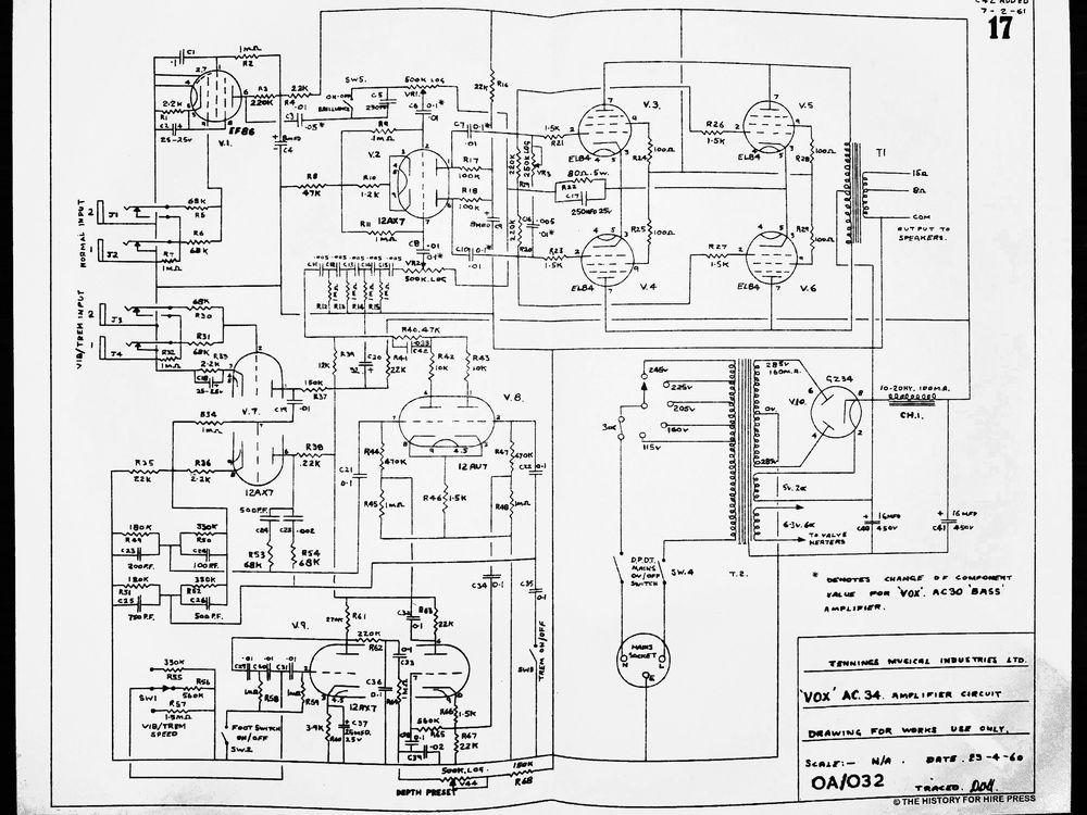 Vox AC30/4 amplifier circuit 3, JMI diagram, schematic, 1960