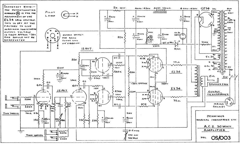 Vox AC2/30 circuit diagram, schematic, 1958