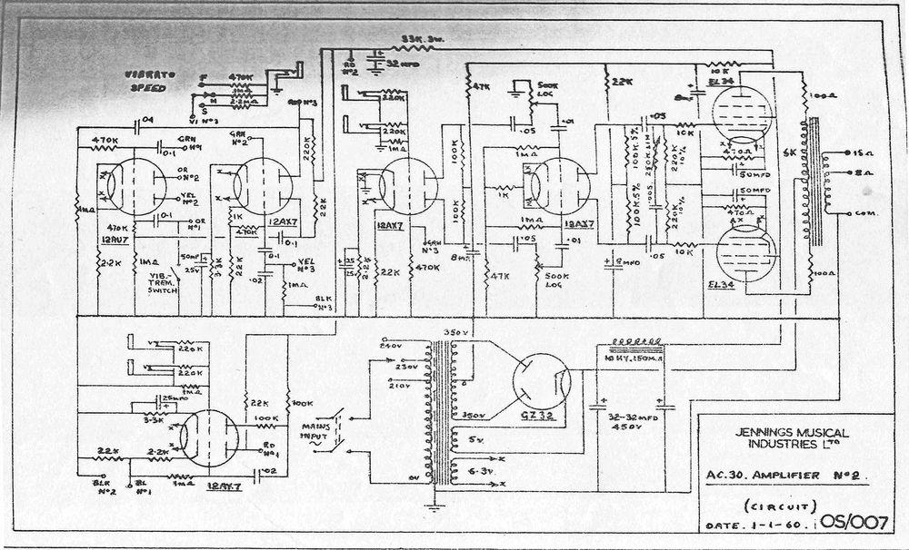 Vox AC/30 circuit diagram, schematic, 1959-1960