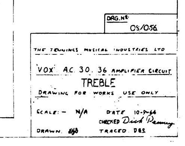 Vox AC30/6 Treble model circuit diagram, schematic, 1964, information panel