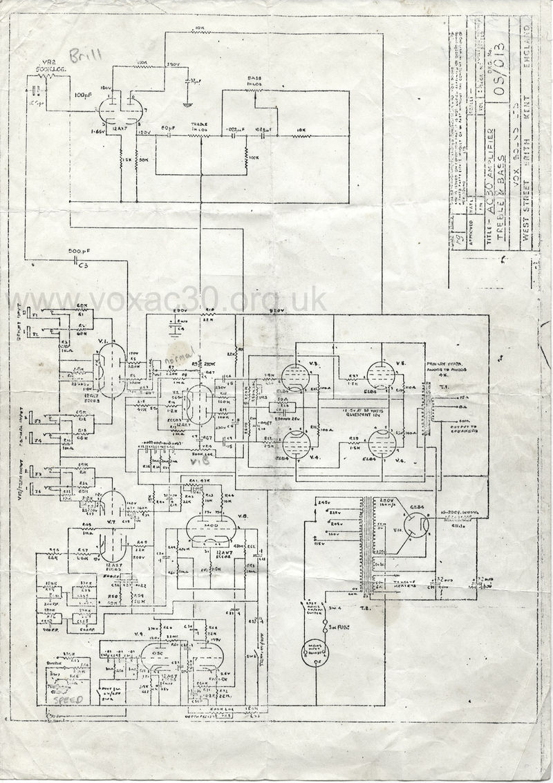 Vox Sound Equipment Limited, circuit diagram for the Vox AC30 Top Boost