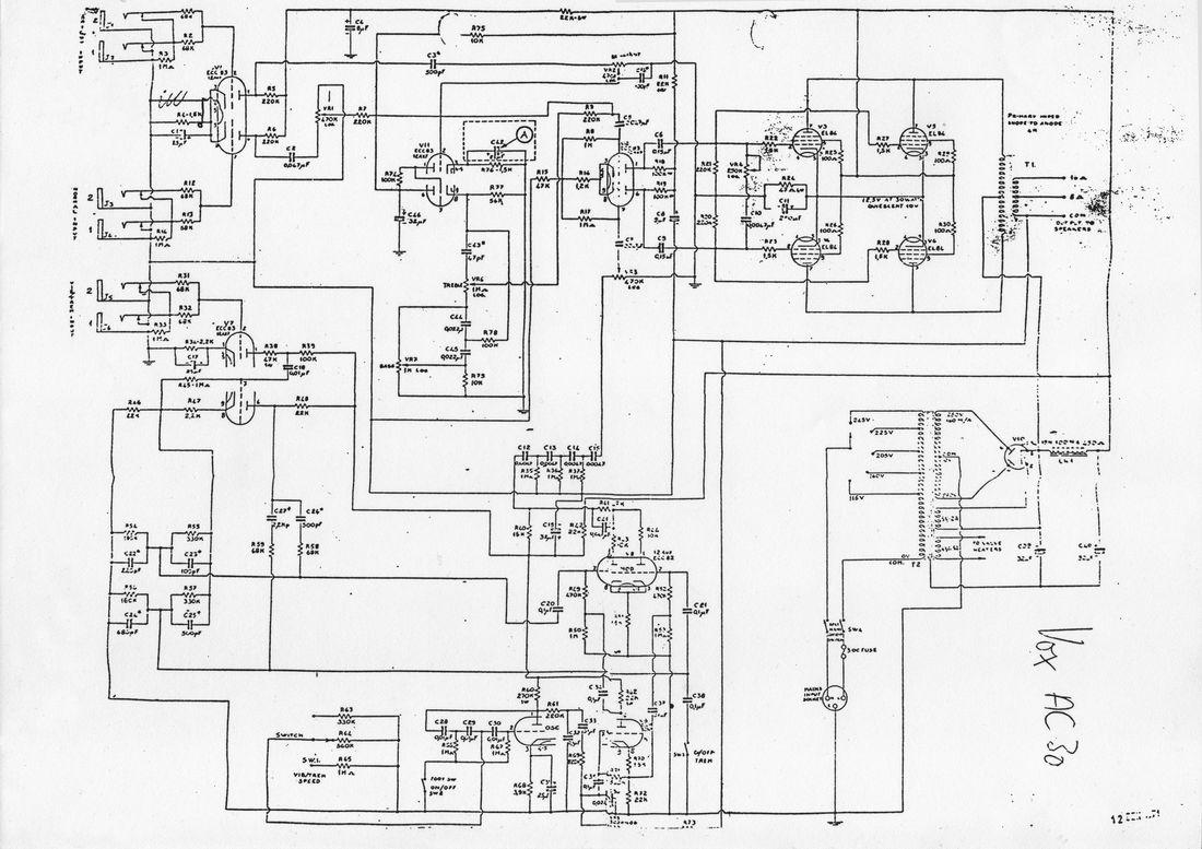 Vox AC30/6 Top Boost model, circuit diagram, schematic, Vox Sound Limited, 1971