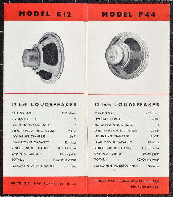 Celestion G12 - Celestion catalogue, 1956