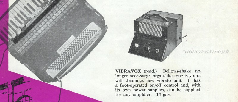 Accordion Times, January 1958, the Jennings (Vox) Vibravox unit - version 1