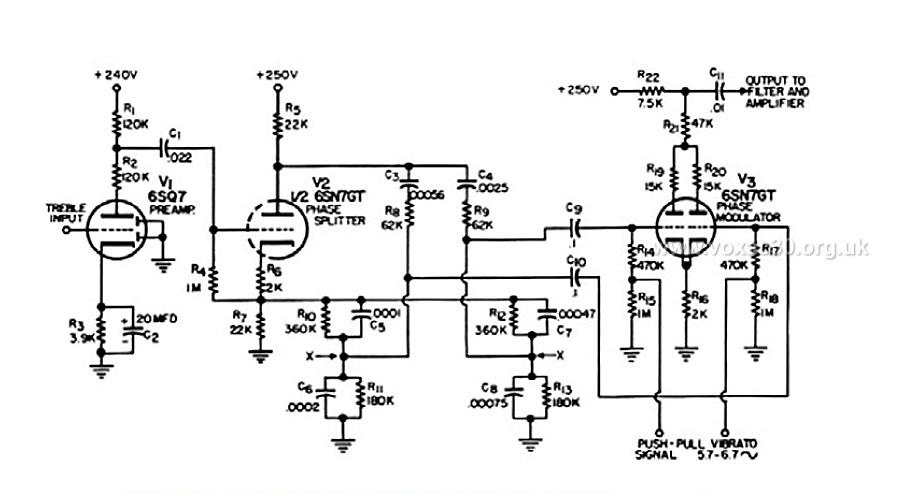Wurlitzer schematic, detail