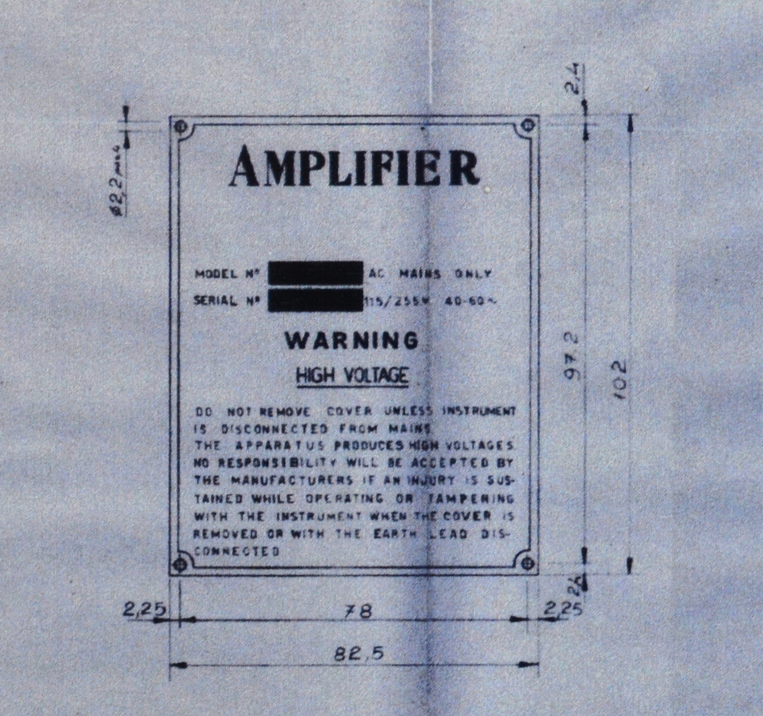 Italian made Vox AC30, blueprint for the serial number plate