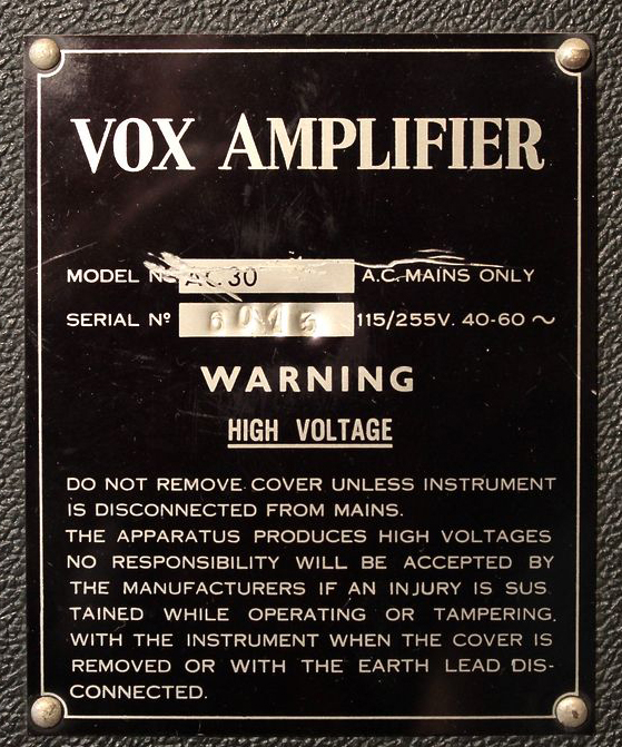 Serial number plate of Vox AC30 number 6013, Italian, made in northern Italy, 1971