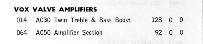 Vox AC30 pricelist, February 1969