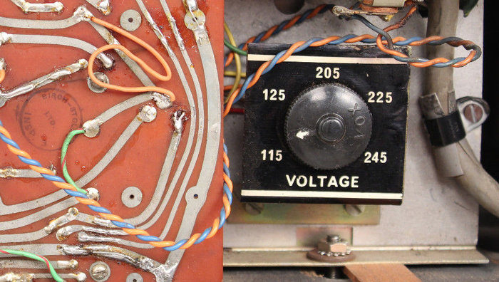 Vox AC30 voltage selector of serial number 1126, Vox Sound Limited, Birch-Stolec factory, 1972