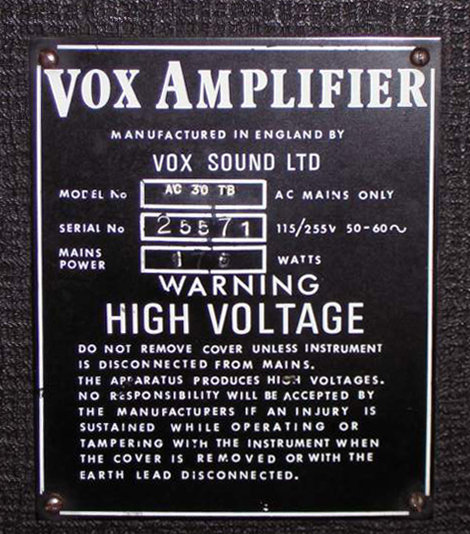 Serial number plate of Vox AC30 number 25571, produced by Vox Sound Limited, Birch-Stolec factory, 1971