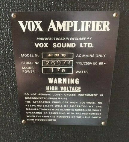 New style Vox Sound Limited serial number plate, Vox AC30, Birch-Stolec, 1972