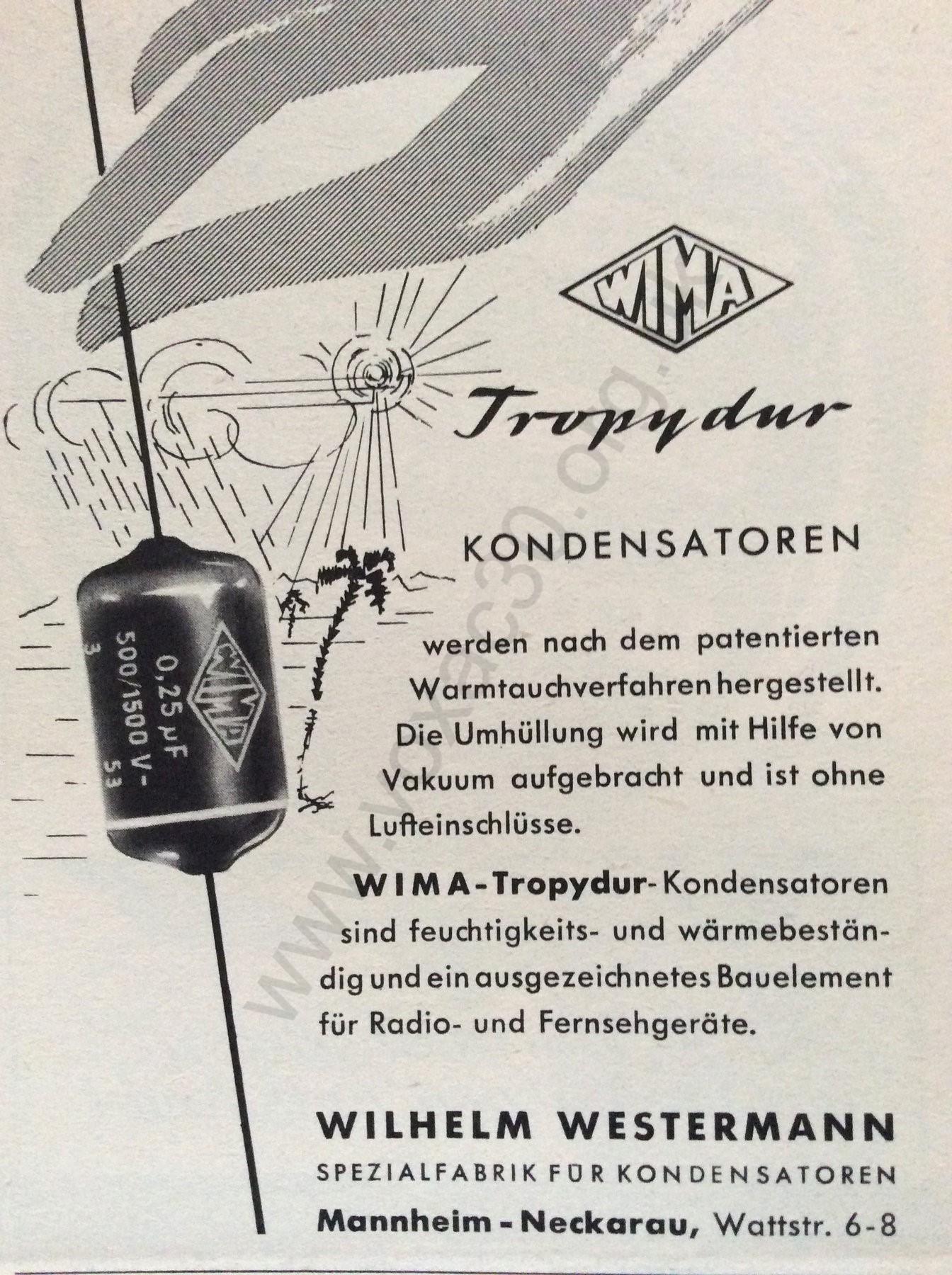 WIMA Tropydur capacitor ad